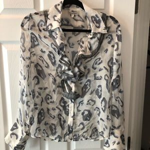 Sheer silk blue leopard print blouse